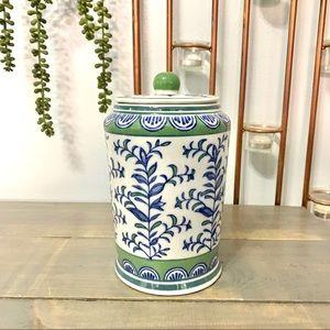 Floral Ceramic Lidded Jar White Green Blue
